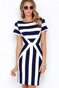 The Free at Sea Ivory and Navy Blue Striped Bodycon Dress sailed into our hearts and is there to stay! Cute boat neckline, short sleeves, and flirty bodycon skirt. Trendy Dresses, Blue Dresses, Casual Dresses, Short Dresses, Fashion Dresses, Summer Dresses, Women's Dresses, Dresses Online, Trendy Outfits