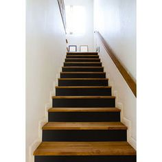 Online shopping from a great selection at Home Store. Basement House, Basement Stairs, House Stairs, Painted Staircases, Wood Stairs, Modern Staircase, Under Stairs, Hallway Decorating, Home Reno