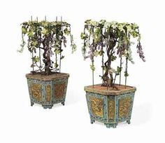 A PAIR OF CHINESE CLOISONNE ENAMEL JARDINIERES WITH HARDSTONE FLOWERS                                                                                                                                                                       EARLY 19TH CENTURY