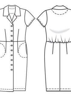 Burda Patterns, Dress Patterns, Sewing Patterns, Flat Drawings, Fashion Forms, Fashion Sketches, Shirt Dress, Couture, Summer Dresses