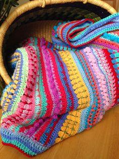 Da's Crochet Connection: Multi-stitchmulti-stripedblanket