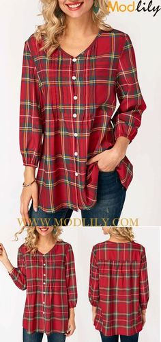 f9ceb0a61b38 V Neck Plaid Print Button Closure Blouse