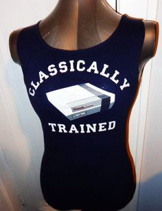 Ladies Juniors Nintendo Classically Trained handmade DIY tank top. Awesome for the gamer and nerd in you Vintage video game shirt.. $25.00, via Etsy.