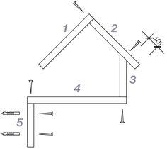 Bauskizze für Vogelhaus Variante A