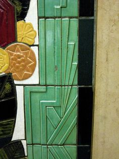 The lobby of the Carew Tower in Cincinnati, Ohio features these beautiful tiles made by the Rookwood Pottery company, which was also located in Cincinnati. Antique Tiles, Vintage Tile, Vintage Pottery, Pottery Art, Art Nouveau Tiles, Rookwood Pottery, Art Deco Buildings, Carew Tower, Building Art