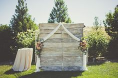 Wooden Backdrop for an Outdoor Wedding Ceremony