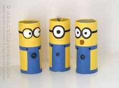 Cardboard Tube Minions - Crafts by Amanda Cardboard Tube Minions - Crafts by Amanda Cardboard Playhouse, Cardboard Crafts, Minion Craft, Toilet Roll Craft, Toilet Paper Art, Cardboard Fireplace, Shop Work Bench, Fireplace Furniture, Paper Towel Rolls