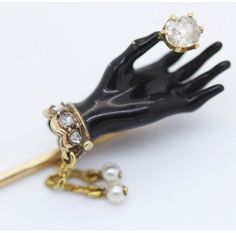 Antique Tie Stick Pin Glove Hand 18k Gold Diamonds Pearls Lacquer French (#5944) by BestOldJewelry on Etsy https://www.etsy.com/listing/262979464/antique-tie-stick-pin-glove-hand-18k