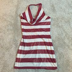 Glitter striped halter size small Gorgeous burnt red and cream halter with iridescent gold glitter. Worn once, perfect condition! Coolwear Tops