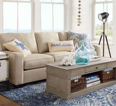 Beach Decor Living Room Idea From Pottery Barn With Sandy Beige Sofa And  Beach Please Pillow