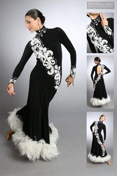 black and white applique feather long latin dress
