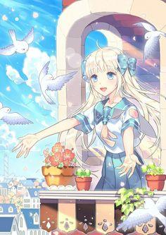 Anime Girl || Light Blue || Blonde Hair