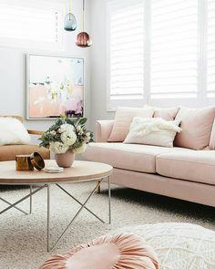 Pink blush living room. ZEENA Modern Home inspiration