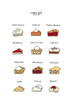 Comfort Food Pie Print Hand-Illustrated by roaringsoftly on Etsy Cafe Menu, Cafe Food, Bakery Menu, Feed Insta, White Trash Party, Food Doodles, Happy Pi Day, Cute Food Drawings, Buch Design