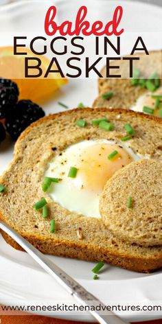 Baked Eggs in a Basket by Renee's Kitchen Adventures – Baked Eggs in a Basket aka Eggs in a Hole, are the perfect breakfast or brunch solution for a crowd. An egg is nestled in the middle of a piece of toast and baked to perfection right in the oven! Great Breakfast Ideas, Best Breakfast Recipes, Perfect Breakfast, Brunch Recipes, Brunch Ideas, Breakfast Dishes, Egg Recipes, Great Recipes, Favorite Recipes