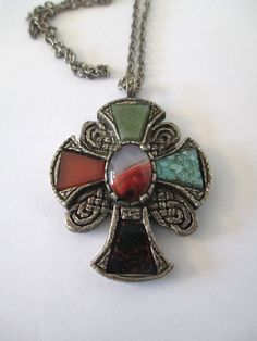 Vintage Celtic pendant, Great Britain, medieval cross, silver and faux agates and glass stones by vintageboxofdelights on Etsy