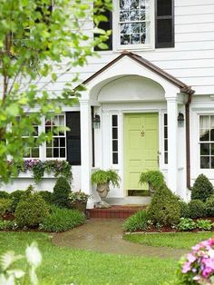 Porch, paint door for great curb appeal