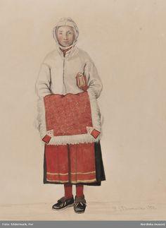Kvinna med skinnfäll, Mora. Akvarell av P.Södermark. @ DigitaltMuseum.se Folk Costume, Costumes, Swedish Fashion, Antique Clothing, Traditional Dresses, Folklore, Persona, Sweden, Scandinavian