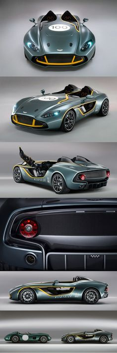 The Aston Martin CC100 Speedster Concept, is a one off car built to celebrate Aston Martins 100th Anniversary. Design inspiration came from the 1959 DBR1 that won at Le Mans and survived the grueling Nurburgring 1000 with Sir Stirling Moss at the wheel. The split cockpit with doorless doors, twin buttresses and even the color scheme are all design cues taken from classic Aston Martin racers.