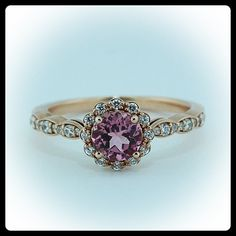 Rose Gold Pink Tourmaline Engagement Ring or Right Hand Ring  Diamond Setting
