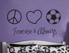 SOCCER Wall Decal Peace Love Soccer Forever & by Stickitthere, $35.00