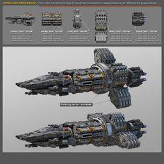 3D modular spaceship Spaceship Art, Spaceship Design, Concept Ships, Concept Art, Robot Technology, Technology Gadgets, Colonial, Sci Fi Anime, Starship Concept