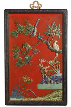 A Chinese cloisonné enamel and lacquer panel Qing dynasty, 19th century