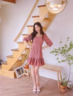 Square Neck Shirring Detailed Dress - I know you wanna kiss me. Thank you for visiting CHUU. Cool Girl Outfits, Classy Outfits, Pretty Outfits, Cute Dresses, Casual Dresses, Fashion Dresses, Korea Fashion, Asian Fashion, Free Clothes