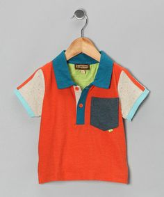 Take a look at this Orange & Beige Polo - Infant, Toddler & Boys by Kartoons Kataloons on #zulily today!