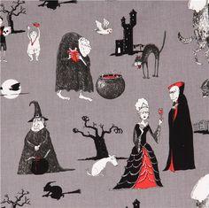 grey The Odditys horror story fabric by Elizabeth's Studio USA