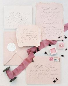 Beautiful wedding calligraphy invitation suite wedding details bridal blush pink