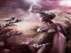 Pink Lady - 3D CG, abstract, art, beautiful, belly, bird, birds, black, body, brown, clouds, cool, costume, elegant, fantasy, female, figure, fine art, girl, lady, leaves, painting, people, pink, skin, sky, veils, white, woman girls, women