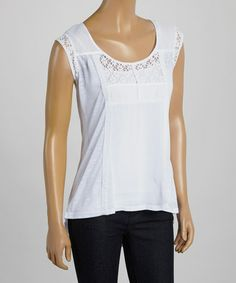 Another great find on #zulily! White Crochet Cap-Sleeve Top #zulilyfinds