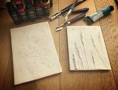 Plaster-cast tiles by Mariya Butakova. Work in progress Plaster Of Paris, Plaster Cast, Tiles, It Cast, Artwork, Room Tiles, Work Of Art, Auguste Rodin Artwork, Tile