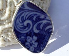 Sterling Silver Broken China Pendant  Flow Blue by MaroonedJewelry, $35.00