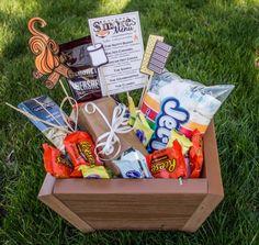 S'mores gift basket, giftbasket, planter box, composite decking scraps