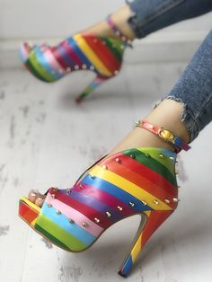 Shop Rivets Embellished Rainbow Striped Buckled Thin Heels right now, get great deals at joyshoetique Pumps Heels, Stiletto Heels, High Heels, Stilettos, Sock Shoes, Shoe Boots, Rainbow Shoes, Rainbow Stuff, Rainbow Outfit