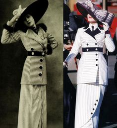 Edwardian striped walking suit that inspired Rose's attire in Titanic movie.