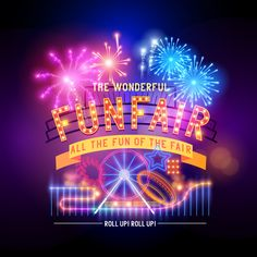 The Bright Fireworks Amusement Park Poster Vector Material