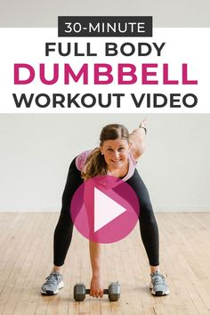 Full Body Dumbbell Workout Video Strength train at home with this free workout video! This full body workout for women combines strength training and HIIT for an effective, sweaty workout for women at home! Full Body Dumbbell Workout, Body Workout At Home, At Home Workouts, Workouts Hiit, Body Workouts, Boxing Workout, Cardio, Body Fitness, Fitness Video