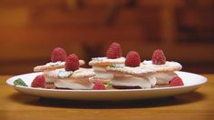 Georgia Barnes' Quick Monte Carlos - Masterchef Australia 2015.. strawberries work really nice too. Can use whipped cream to hold strawberry slice instead of white chocolate. Just made these.. easy and delicious! Link isn't working.. type in 'monte carlos' in search on this page.