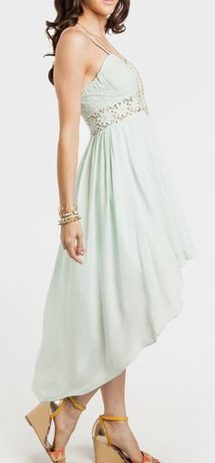 Lace Bodice High Low Dress