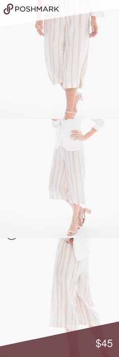 Chicos painted stripes  pants Chicos painted stripes wide leg cropped pants!!! This pants are absolutely stunning and in excellent condition no flaws! 100% soft rayon . Chico's Pants Wide Leg
