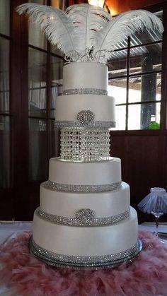 Elegant Personalised multi-tier Wedding cake with chandelier and swarovskiCrystals