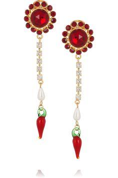 Miu Miu Crystal and glass drop clip earrings