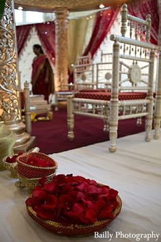 An elaborate mandap for an Indian fusion wedding ceremony.