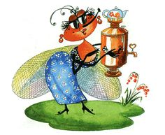 Mukha-Tsokotukha - famous Russian fly that was attacked by a spider. Poem by K. Black Diamond, Rooster, Drawings, Creative, Crafts, Inspiration, Animals, Fictional Characters, Spider Poem