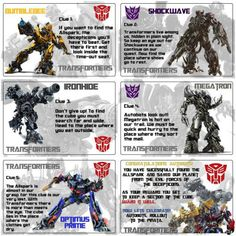 Transformers scavenger hunt! This would be great for a kid's birthday party.