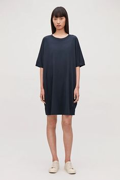 VOLUMINOUS T-SHIRT DRESS - Navy - Dresses - COS Navy Dress, Blue Dresses, Summer Dresses, White Shirts, Shirt Dress, T Shirt, Cold Shoulder Dress, Women Wear, My Style
