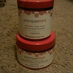 Arbonne pampermint foot care Pampermint by Arbonne foot care.... one 9 oz tub of foot cream, and one 12 oz tub of foot scrub. Brand new never opened. Other